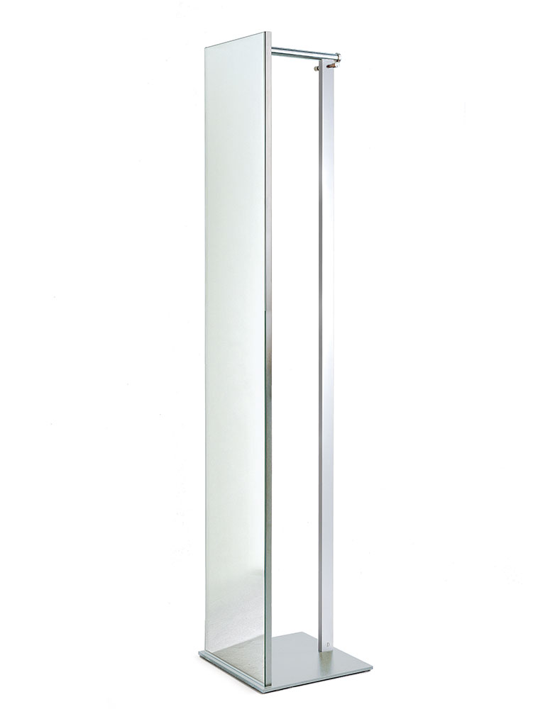 D-TEC | TOP | TSR 33 | stand mirror with coat rail and hooks | silver/chrome