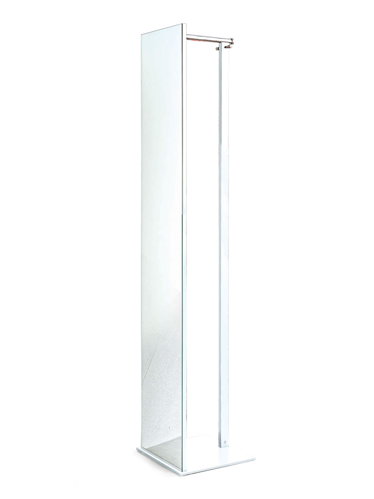 D-TEC | TOP | TSR 33 | stand mirror with coat rail and hooks | white/chrome